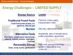energy challenges limited supply