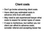 client costs