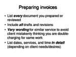 preparing invoices