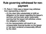 rule governing withdrawal for non payment