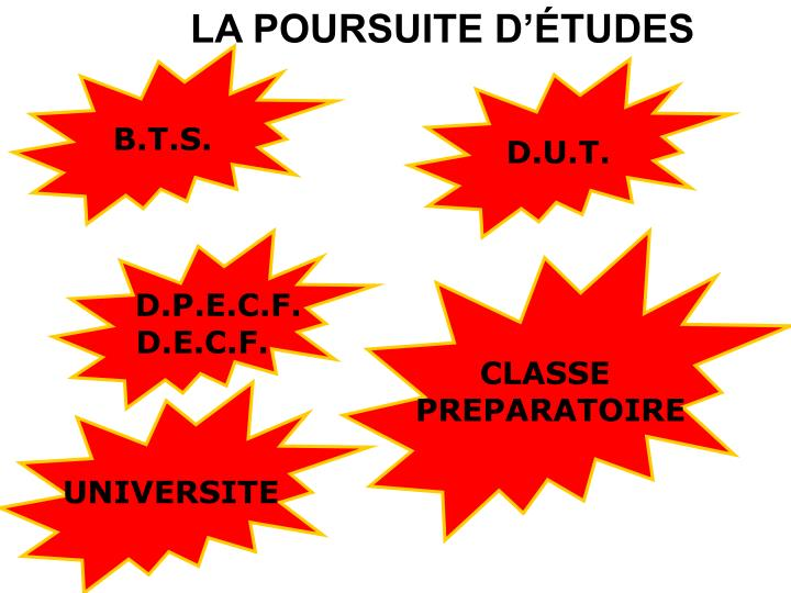 LA POURSUITE D'ÉTUDES