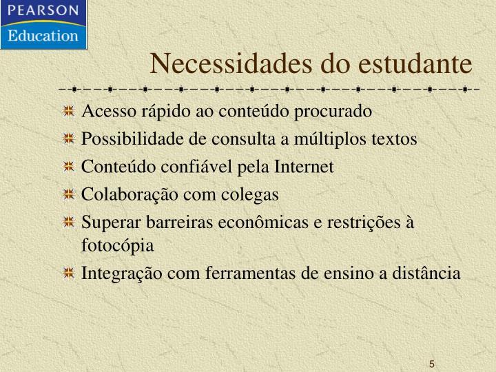 Necessidades do estudante