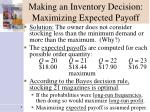 making an inventory decision maximizing expected payoff1