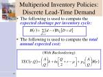 multiperiod inventory policies discrete lead time demand