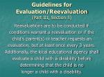 guidelines for evaluation reevaluation part iii section 5