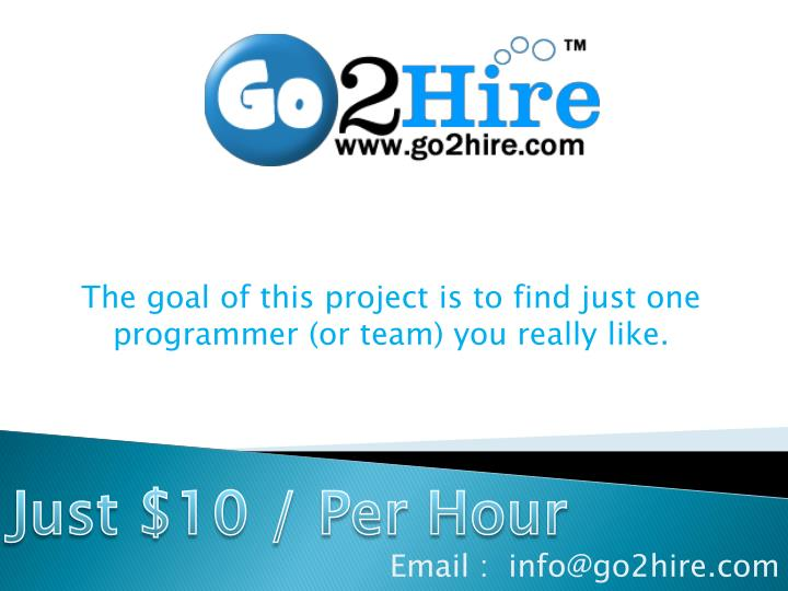 The goal of this project is to find just one programmer or team you really like