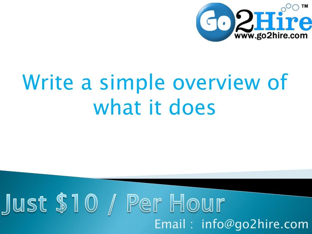 Write a simple overview of what it does