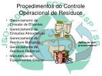procedimentos do controle operacional de res duos