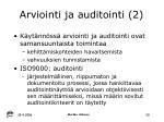 arviointi ja auditointi 2
