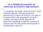 art 6 obblighi dei progettisti dei fabbricanti dei fornitori e degli installatori