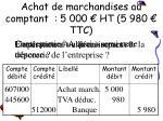 achat de marchandises au comptant 5 000 ht 5 980 ttc