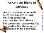 achats de biens et services