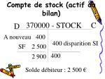 compte de stock actif du bilan