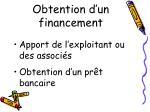 obtention d un financement
