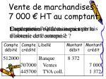 vente de marchandises 7 000 ht au comptant