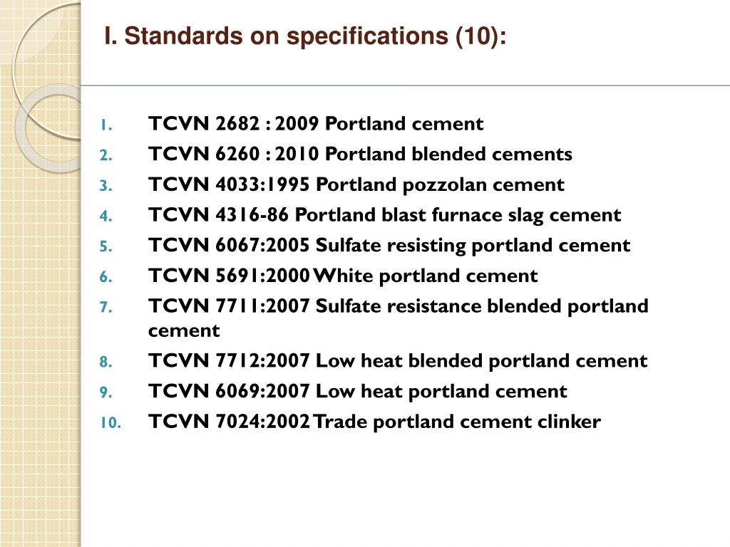 I. Standards on specifications