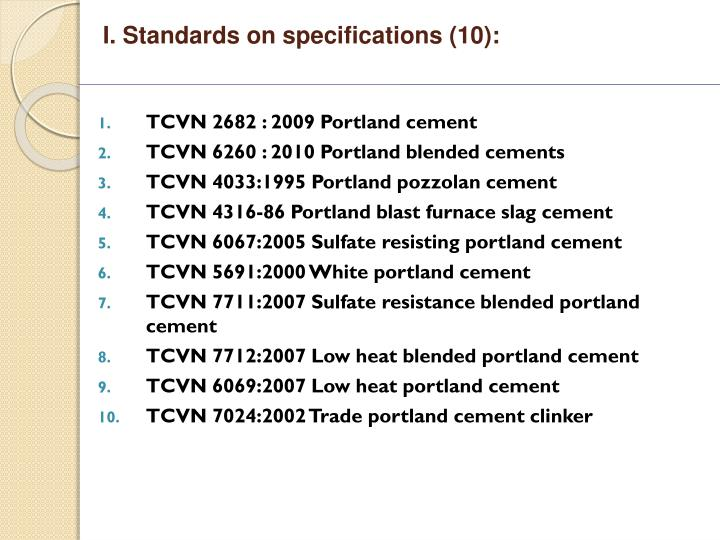 I standards on specifications 10