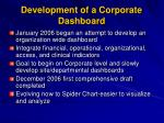 development of a corporate dashboard