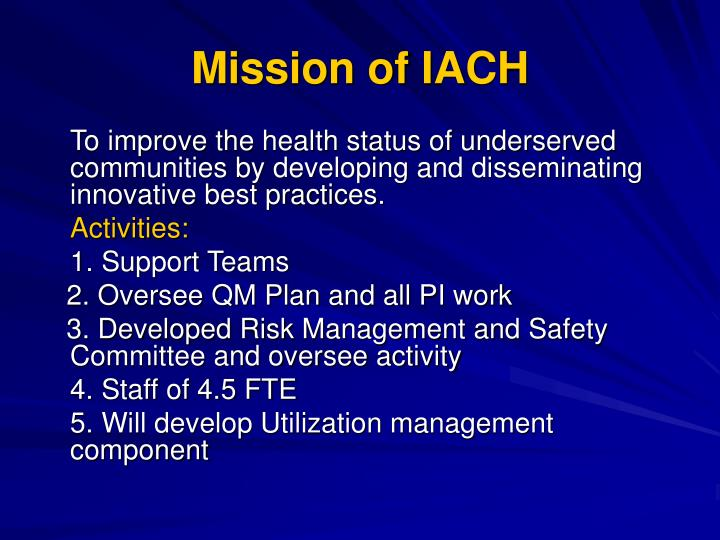 Mission of IACH