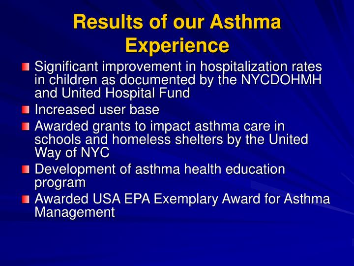 Results of our Asthma Experience