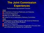 the joint commission experiences