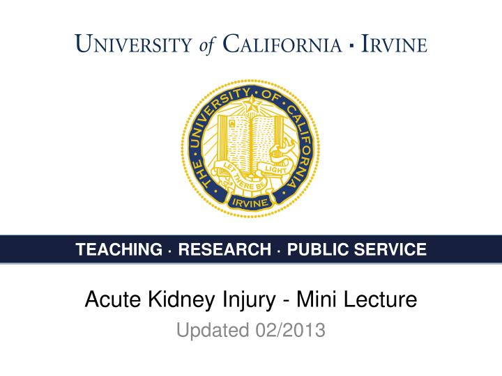 acute kidney injury mini lecture n.
