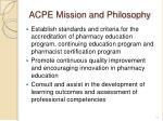 acpe mission and philosophy
