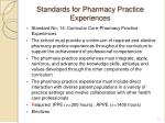 standards for pharmacy practice experiences