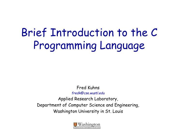 brief introduction to the c programming language n.