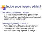 indicerende vragen advies