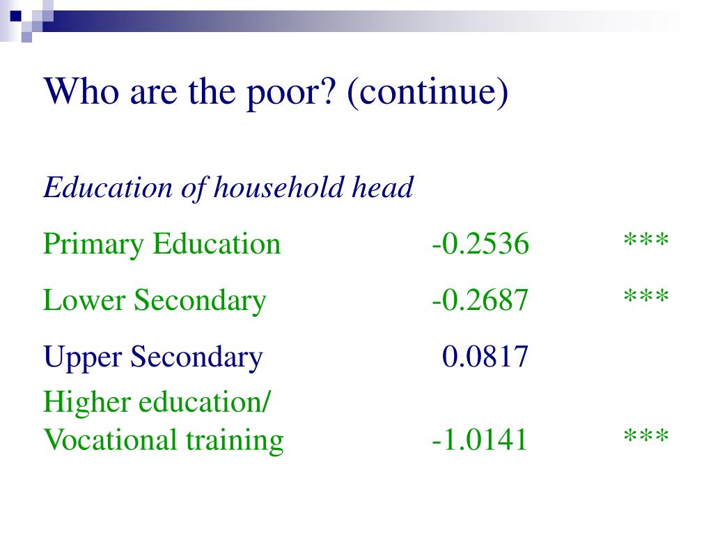 Who are the poor? (continue)