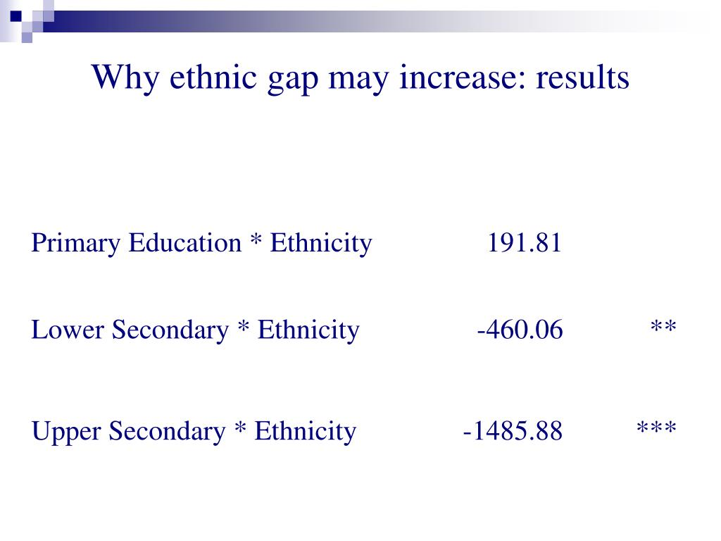 Why ethnic gap may increase: results