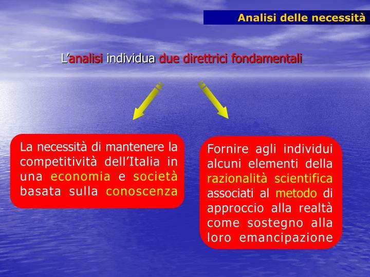 La necessità di mantenere la competitività dell'Italia in una