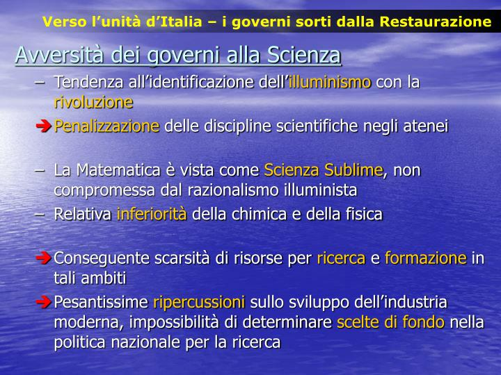 Verso l'unità d'Italia – i governi sorti dalla Restaurazione