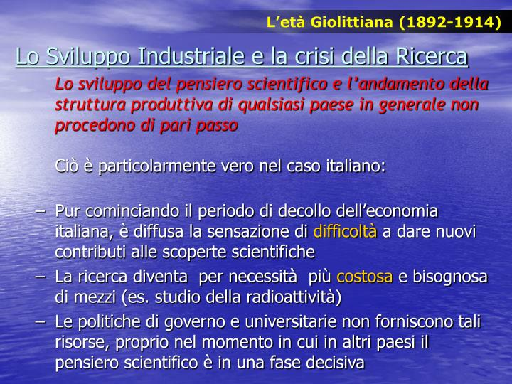 L'età Giolittiana (1892-1914)