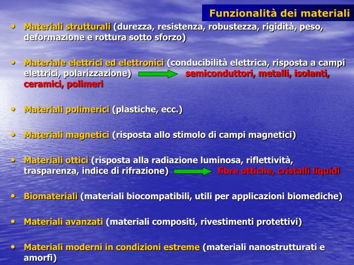 Funzionalità dei materiali