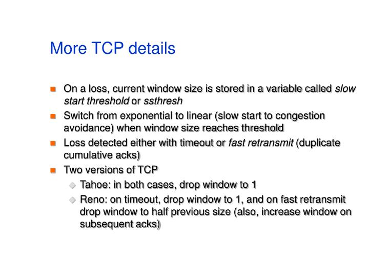 More TCP details