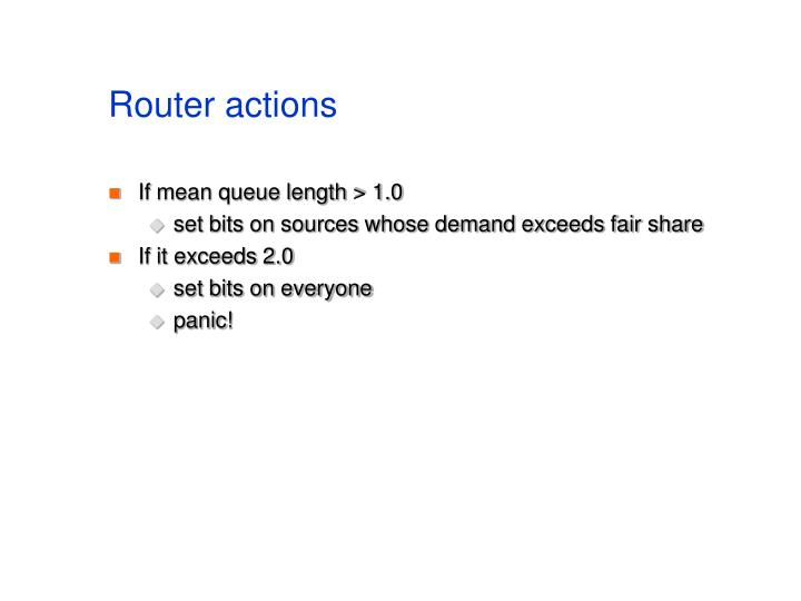 Router actions