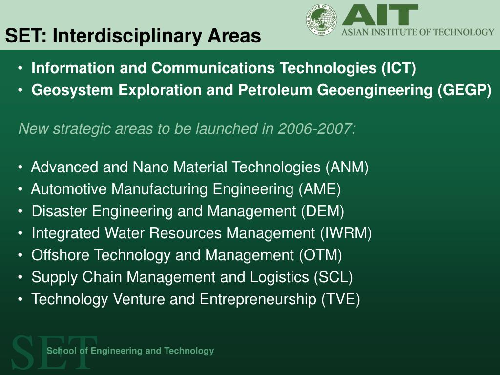 SET: Interdisciplinary Areas