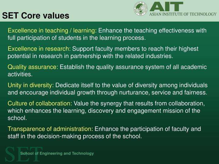 SET Core values