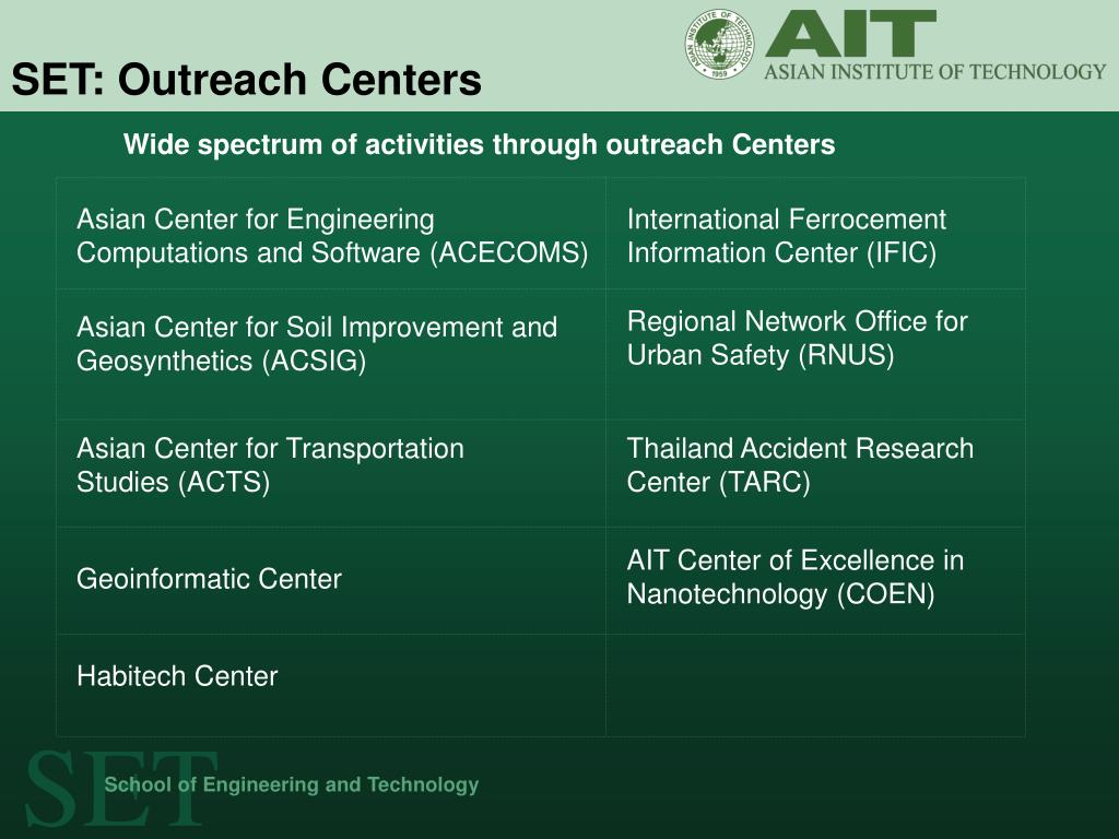 Wide spectrum of activities through outreach Centers