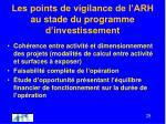 les points de vigilance de l arh au stade du programme d investissement