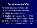 for approachability