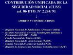 contribuci n unificada de la seguridad social cuss art 86 dto n 2 284 91
