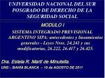 universidad nacional del sur posgrado de derecho de la seguridad social