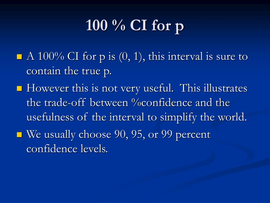 100 % CI for p