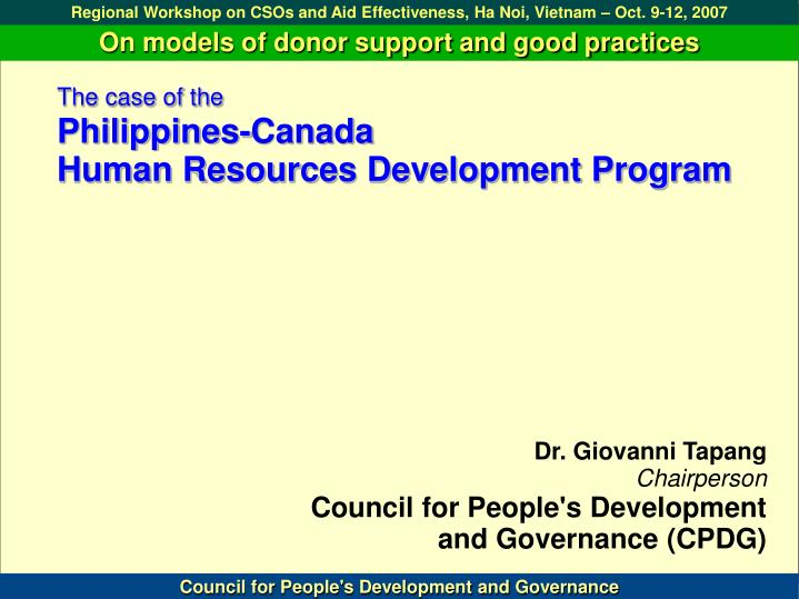 The case of the philippines canada human resources development program
