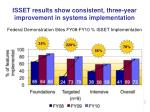 isset results show consistent three year improvement in systems implementation