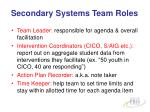 secondary systems team roles