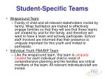 student specific teams